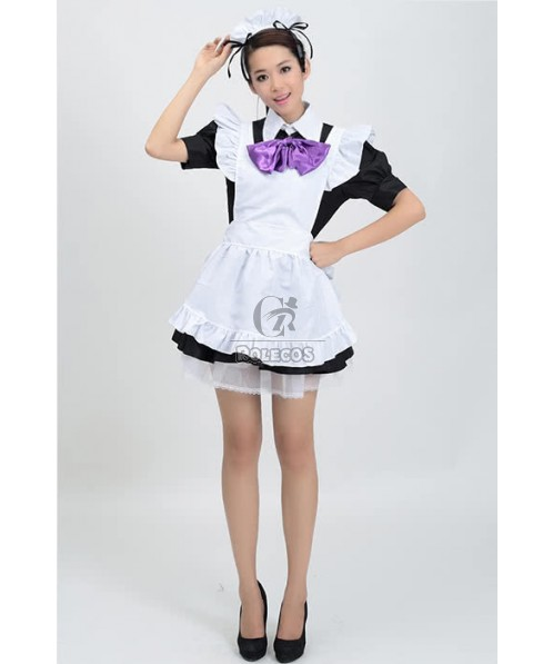 Super Cute Mixed Black and White Japanese Maid Outfit Cosplay Costumes