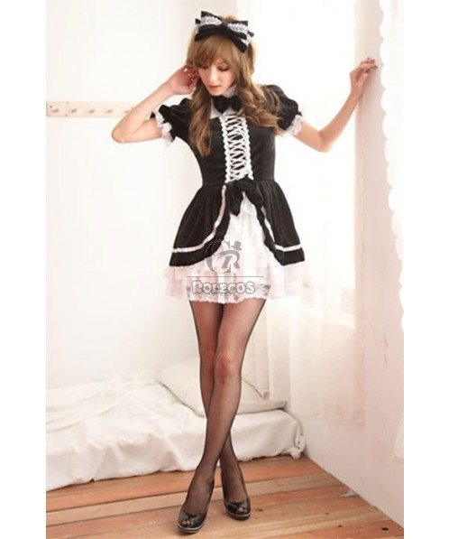 Japanese Maid Lolita Pretty Girls' Red And Black Dress Cosplay Costumes