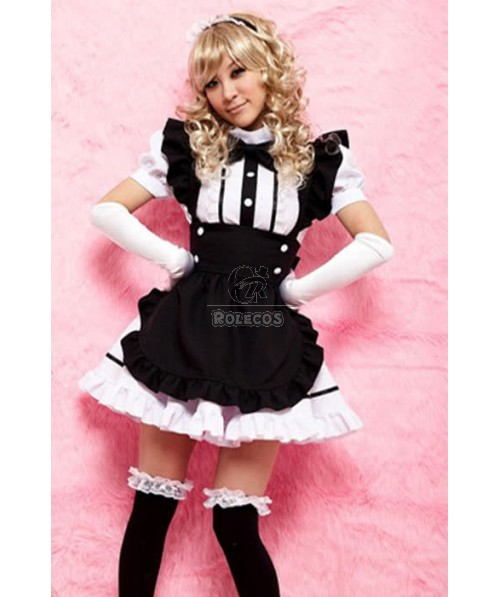 Mixed Black and White Lolita Pretty Japanese Maid Cosplay Costumes