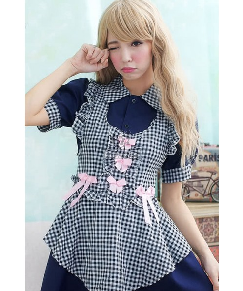 Japanese Maid Outfit Uniform Temptation Dark Blue Cosplay Costumes