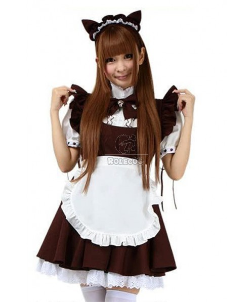 Japanese Cafe Maid Outfits Lolita White Dress and Black Apron Cosplay Costume
