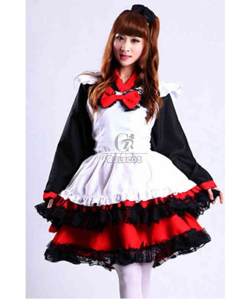 Japanese Maid Kimono Furisode Mixed Black and Red Cosplay Costumes