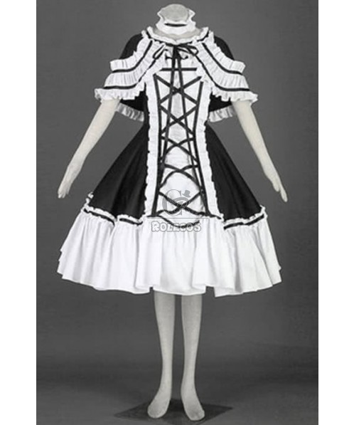 Japanese Maid Bubble Skirt Mixed White and Black Cosplay Costumes