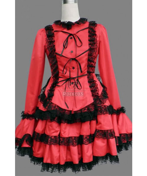 Japanese Maid Lolita Lace Red Cosplay Costumes