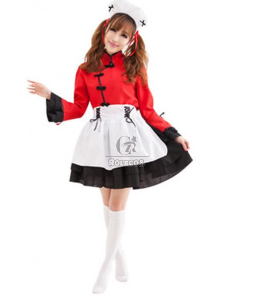 Japanese Maid Lolita Black and Red Cosplay Costumes