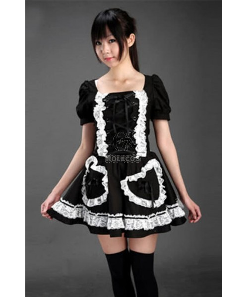 Japanese Maid Lolita Mixed Black and White Cosplay Costumes