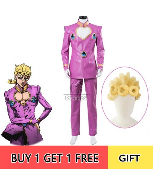 Giorno Giovanna Pink Full Set Cosplay Costume
