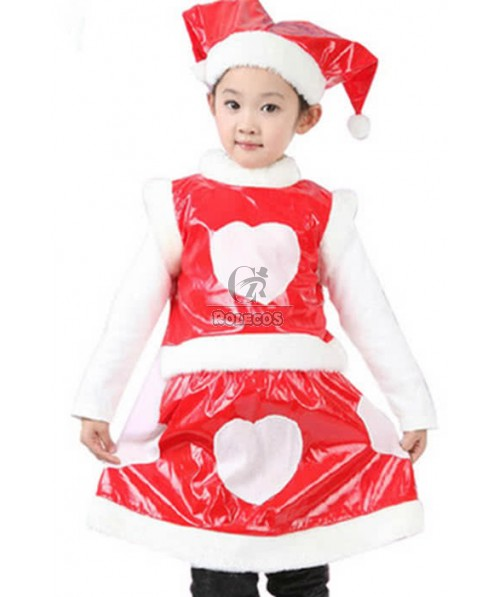 2015 New Style of Girl Red Children Christmas Costume with White Plush Edge