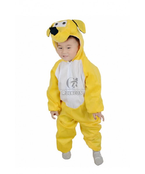 Christmas Children Costume Yellow Lovely Dog Jumpsuits