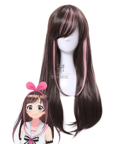 65cm Long Kizuna AI Cosplay Wigs Black and Pink Woman Wigs