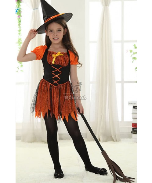 Halloween Children Girls Little Witches Orange Cosplay Costumes