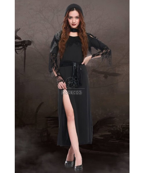 Women Halloween Witch Cosplay Costumes Black Long Dresses