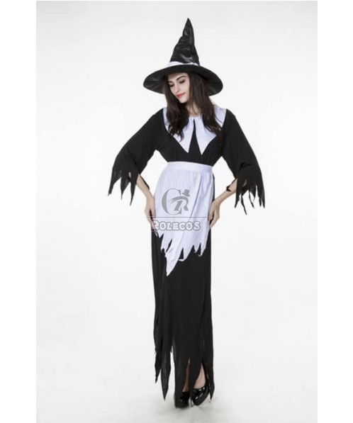 Women Halloween Witch Cosplay Costumes Black and White Long Dresses