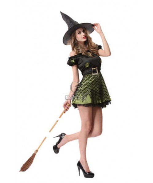 Women Halloween Witch Cosplay Costumes Short Dresses