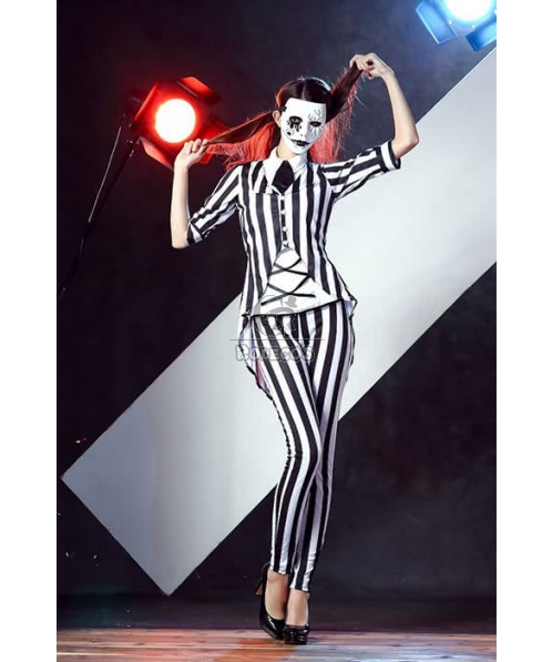 Women Vampire Halloween Cosplay Costumes Sexy Stripes Suits