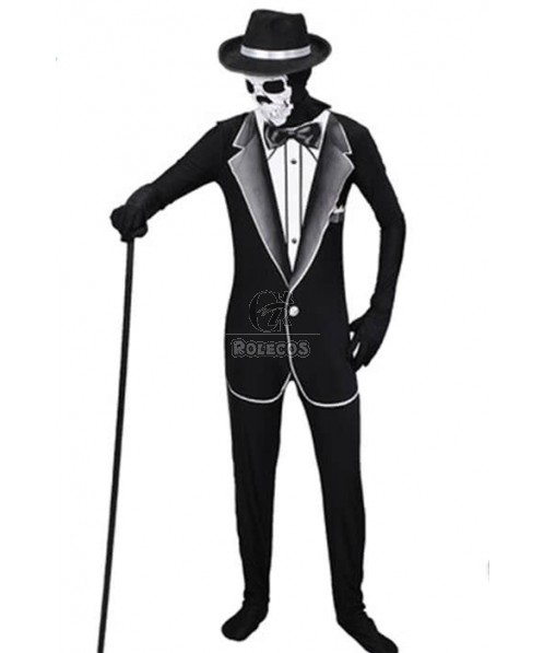 Adults Halloween Skeleton Cosplay Costumes Invisibility Cloaks Black Jumpsuits