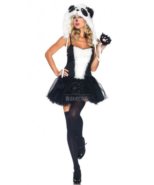 New arrival furry animal halloween costumes with a cute black and white hat