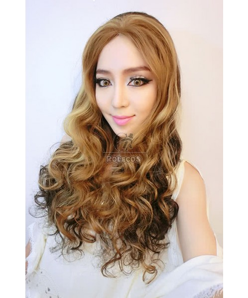 60cm Synthetic Mixed Color 27/25/6# Long Curly Wave Women Lace Front Wig