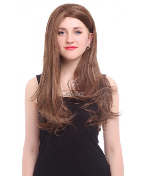 70cm Synthetic Mixed Color 18/27# Long Straight Women Lace Front Wig