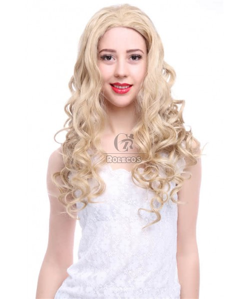 80cm Long Mixed Golden Wave Lace Front Wig