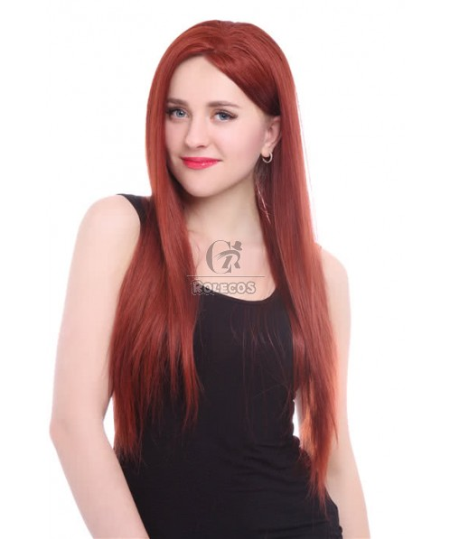 22'' 350# long straight Red with Side bangs Women Lace front wig