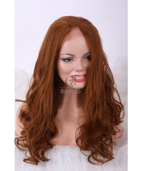 22'' 27# Long Natural Wave curly Mixed Brown No Bangs Women Lace Front Wigs