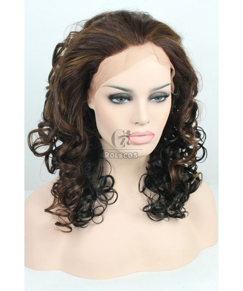 45cm 33/30/# medium Long Mixed brown Black Women Wave Lace Front Wig