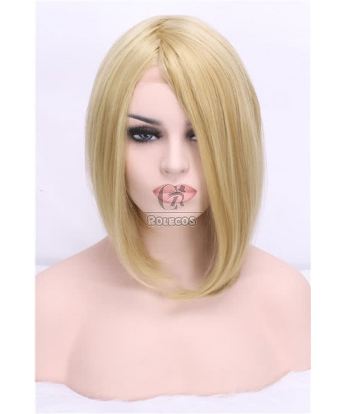 40cm Medium Beige Women Straight Durable Swiss Lace Front Wig