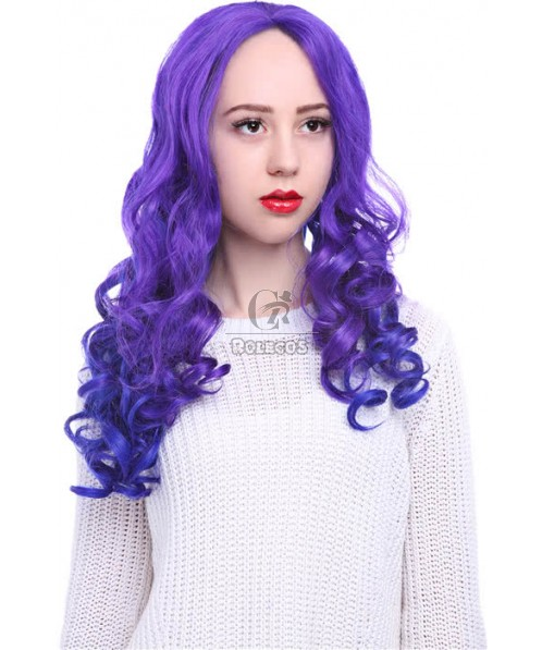 25'' Long purple&peacockblue My Little Pony Natural Wave Women Lace Front Wigs