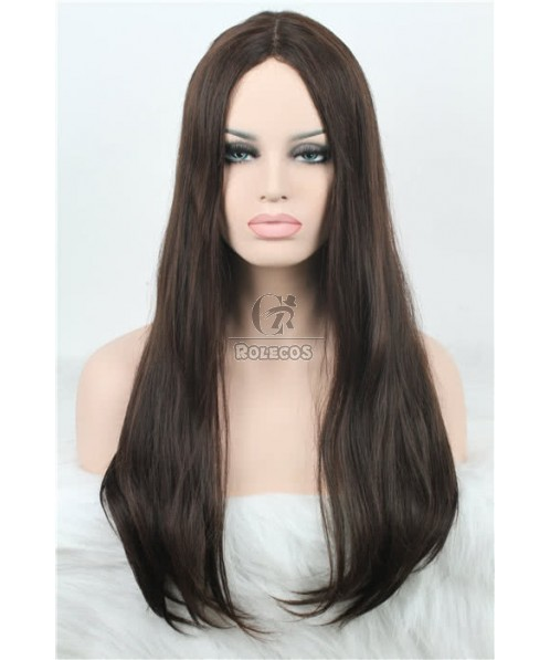 29.53'' Long Natural Straight Dark brown Invisible Part Carve Women Lace Closure Wigs