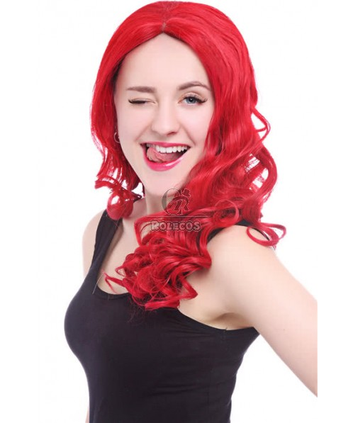 22inch Long Red Women Wave Curly Lace Front Wig
