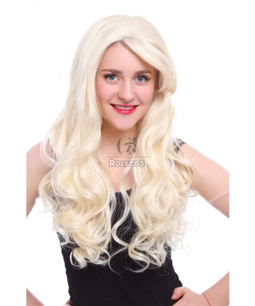 65cm Long Beige Wave Curly Lace Front Wig