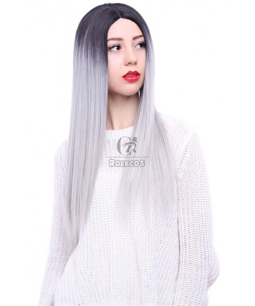 65cm Black Mixed White Long Straight  Invisible Lace Wig