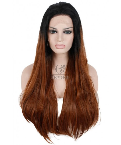 75cm Long Straight Black Fade Brown Lace Front Wig