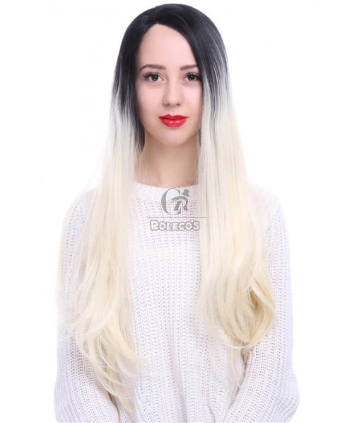 75cm Long Straight Black Fade Blonde Lace Front Wig