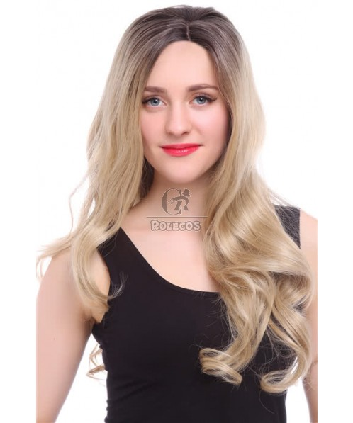 80cm Long Wave Mixed Black And Flaxen Lace Front Wig