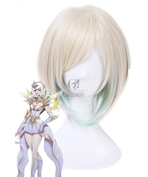 LOL Lux Light Green Synthetic Short Flaxen Mixed Green Cosplay Wigs