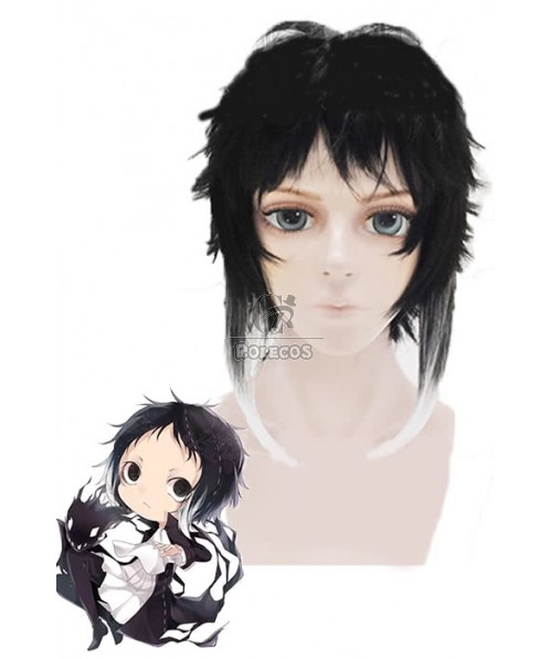 Bungo Stray Dogs Akutagawa Ryunosuke Black Mixed White Short Anime Cosplay Wigs