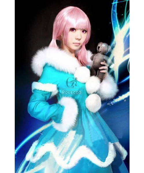 LOL Frost Flames Anne Cosplay Costumes Bright Blue Dress