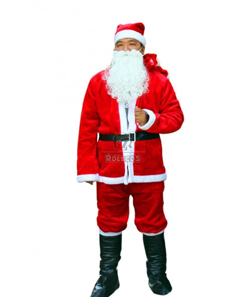 Red Male Christmas Costume with Cute Bag