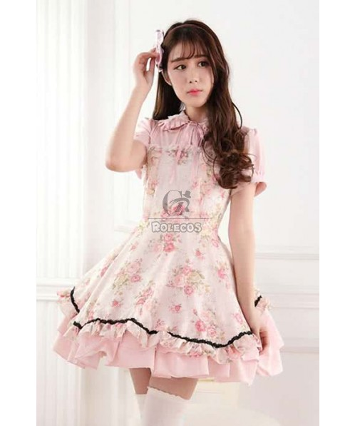 Sweet Lolita Dress Daily Highneck with Short sleeve