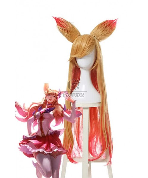 LOL the Nine-Tailed Fox Ahri Long Yellow Mixed Pink Cosplay Wigs ZY277