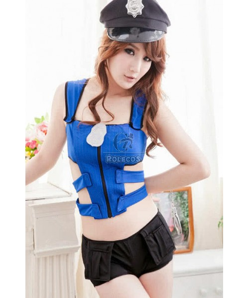 Policewoman Personality Costumes With Black Cool Hat