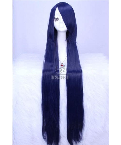 100cm long dark blue straight cosplay wig Japan anime girls hair
