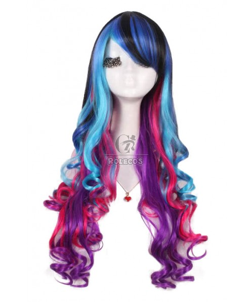Long Cosplay Wigs Mixed Color Rainbow Curly Women Hair