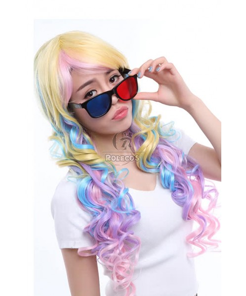 70cm Long Cosplay Wigs Mix Color Curly Synthetic Women Hair