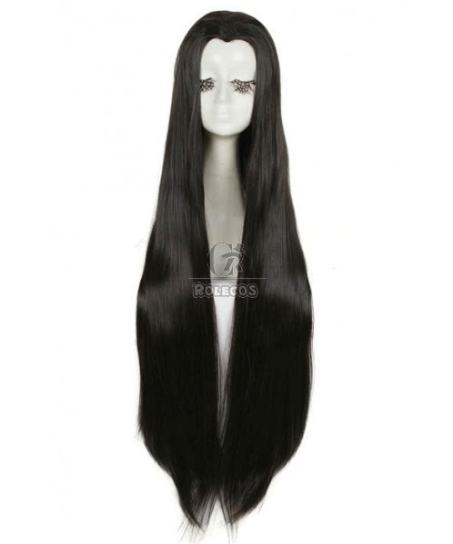 New Beauty Tip Cosplay Wig 100cm Black Straight Widow's Peak Hairpiece
