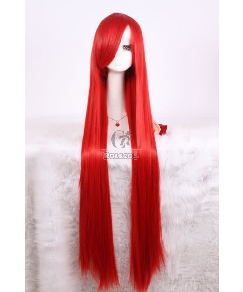 100cm/40inch long red tenghsieh cosplay wig smooth straight women Synthetic hair
