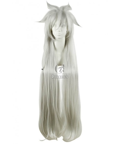 100cm Long Silver Wavy Fashion Wig Synthetic Cosplay Party Hair