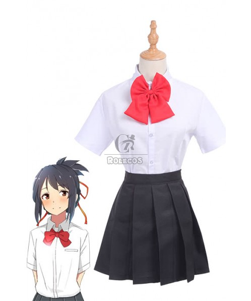 Movie Your Name Mitsuha Miyamizu School Uniforms Cosplay Costumes
